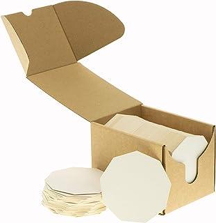 ZEZAZU 4 1/4 pulgadas posavasos absorbentes de papel en blanco para bebidas, proyectos de bricolaje, papel de prensa de letras, azulejos Zen y mini tabla de arte, blanco, Coasters