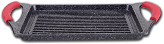 Euronovità, EN-22134 - Parrilla volcánica, con Revestimiento de Piedra, Negro, 36x 25x 6cm