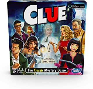 Hasbro Clue Game; Incudes The Ghost Of Mrs. White; Compatible With Alexa (Amazon Exclusive); Mystery Board Game For Kids A...