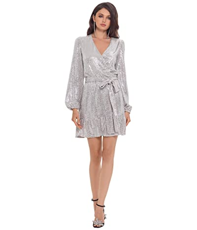 Betsy & Adam Short Long Sleeve Holo Knit Dress