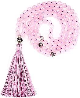 Cherry Tree Collection Mala Necklace | 108 Hand-Knotted 8mm Gemstone Round Beads, Guru and Counter Beads, and Tassel | Meditation, Buddhist Prayer, Healing