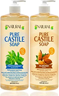 Dr. Natural, Pure Castile Liquid Soap, (Peppermint, Almond 32 Ounce 2-pack) Essential Oils, Ultra-moisturizing Body Wash, ...