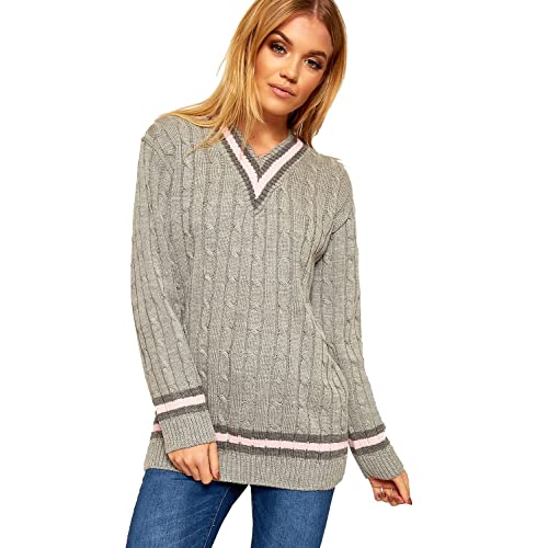 5e3577eae17 Womens Ladies Sports warm Sweater Plus Size V Neck Cricket Jumper Pullover  top UK SIZES