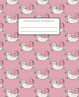 Composition Notebook: Smiling Jumping Cats on Pink Background. School Exercise Journal with Wide Ruled Paper for Middle, E...