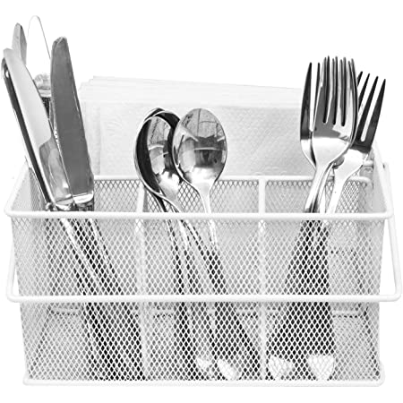 Amazon Com Sorbus Utensil Caddy Silverware Napkin Holder And Condiment Organizer Multi Purpose Steel Mesh Caddy Ideal For Kitchen Dining Entertaining Tailgating Picnics And Much More White