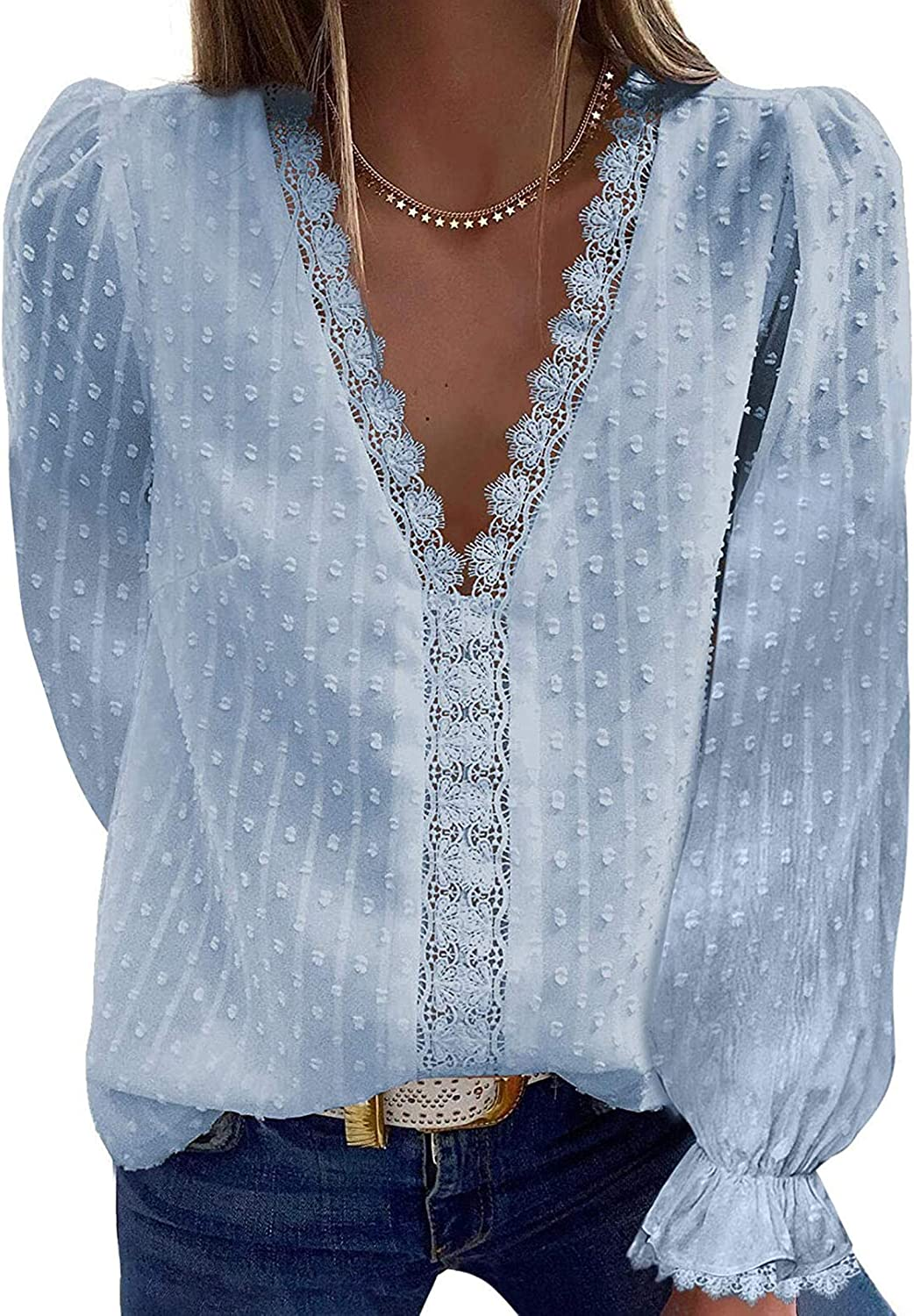 Womens V Neck Lace Tunic Tank Tops Casual Short Sleeve Solid Color Shirt Blouses