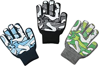 Magic Stretch Winter Gloves for Boys, Kids & Children - 3 Pack Dino, Camo, Trucks