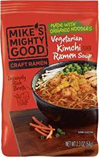 Mike's Mighty Good Craft Ramen Vegetarian Kimchi Soup, 2.3 Ounce Pillow Pack (7 Count) Non-GMO, Made with Steamed Organic Noodles Made From Scratch, Optional Organic Oil Packet Included, Palm Oil-Free