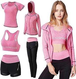 VTJU Survêtement Femme Ensembles Sportswear 5 Pièce Costumes de Sport Gym Yoga Athletisme Fitness Jogging Survêtement Tenu...