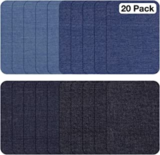 JANDJPACKAGING Iron On Patches for Jeans 20 Pcs 4-1/4'' by 3'' Jean Patches Clothing Repair No-Sew Denim Patches for Knees Holes & Pants 4 Colors