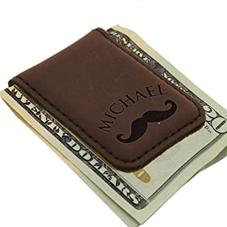 Personalized Magnetic Money Clip - Custom Engraved Gift for Men, Him, Dad - Monogrammed for Free