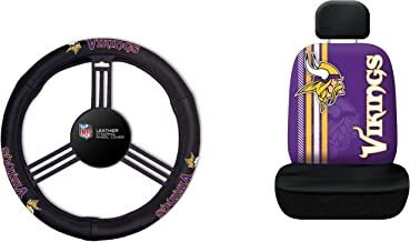 NFL Minnesota Vikings Rally Seat Cover with Leather Steering Wheel Cover, One Size, Black