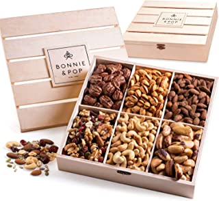Bonnie & Pop- Nut Gift Basket, in Reusable Wooden Crate, Healthy Gift Option, Gourmet Snack Food Box, with Unique Flavors,...
