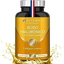 Colágeno Marino y Acido Hialurónico Puro   Con Vitamina A y Vitamina C   Hidratación Piel Antiedad Antirrugas Reduce Líneas de Expresión   Huesos y Articulaciones   60 Cápsulas Fabricado en Francia