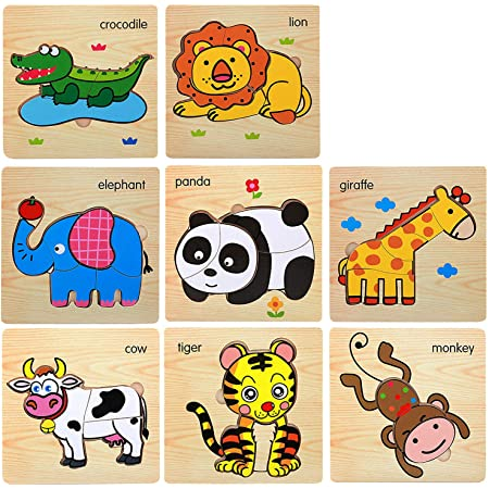 Boys and Girls Ages 3 4 5 to 8 Years Old OXEMIZE Wooden Puzzles for Toddlers Kids Wooden Blocks and Trailer Toys Preschool Educational Toys Color sorter Puzzle Set for All Children