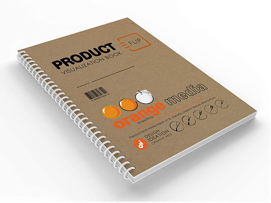 Orange Product : Premium Paper Creative Project FLIP Book for Pencil, Ink, Marker, Charcoal and Watercolor Paints. Great for Product Development, Design and Education. (1)
