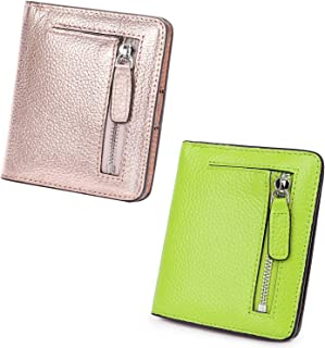 AINIMOER Women Leather Wallet RFID Blocking Small Mini Bifold Zipper Pocket Card Case Champaign Gold and Light Green Bundle