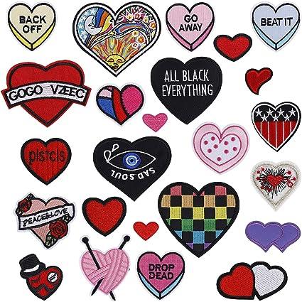Parches Ropa Corazon Patch Sticker DIY Coser o Planchar en Los Apliques para Camiseta Jeans Sombrero Pantalon Bolsas 24 Piezas