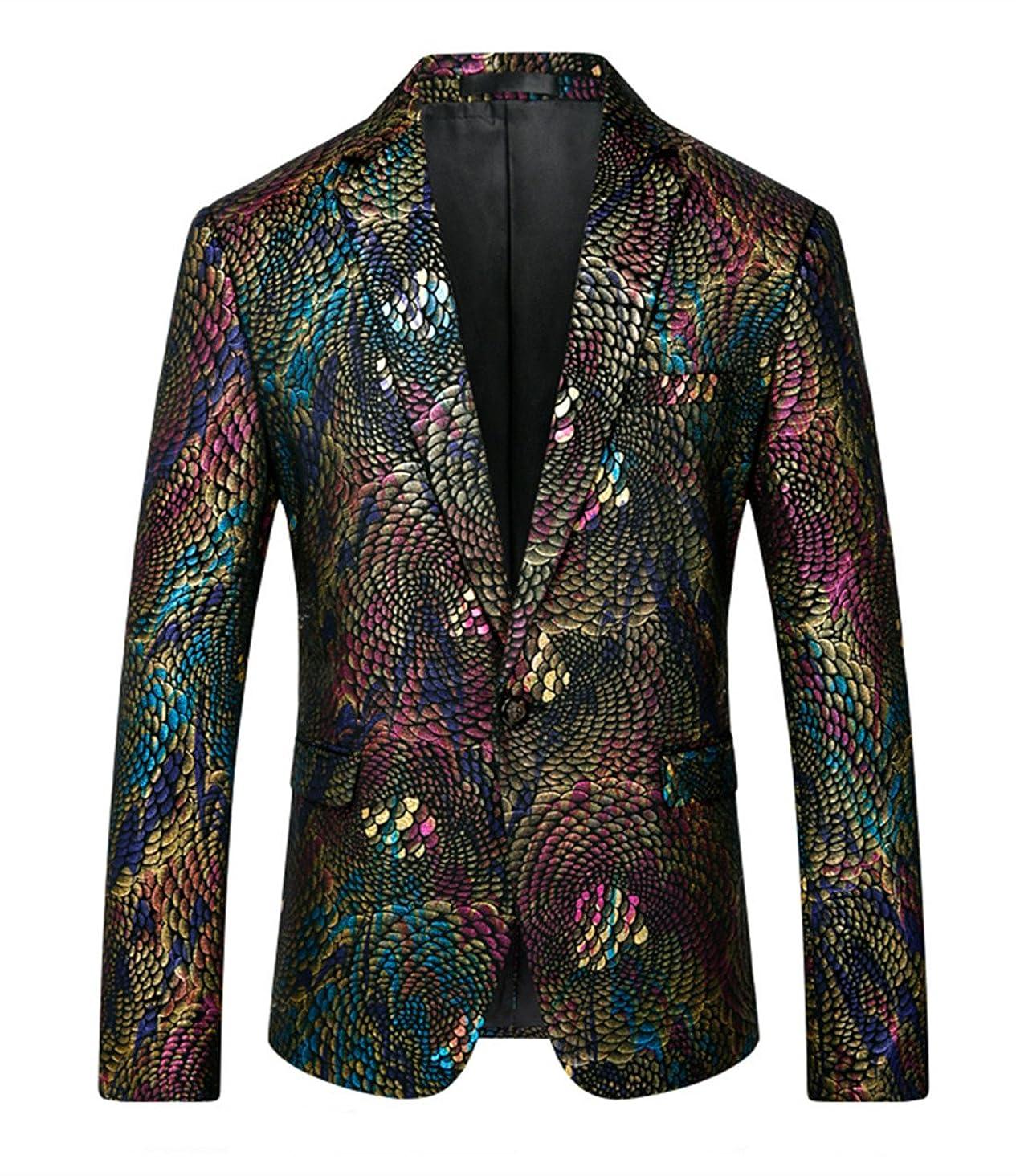 MOGU Mens Fashion Printed Unique Blazers Sport Jacket