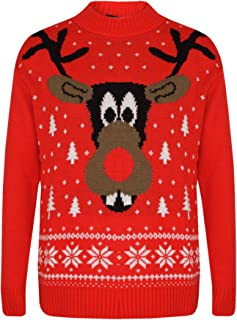 Girls Boys Christmas Jumpers Kids Novelty Reindeer Print Xmas Sweaters 5-12 Year