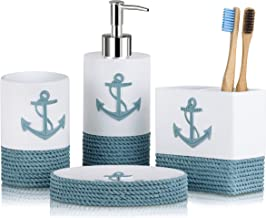 TideAndTales Nautical Bathroom Decor 4 Piece Bathroom Accessories Set | Rope and Anchor Bathroom Decor with Ocean and Sea ...
