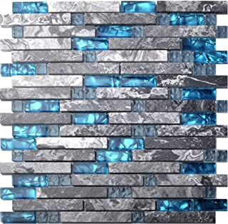 Home Building Glass Tile Kitchen Backsplash Idea Bath Shower Wall Decor Teal Blue Gray Wave Marble Interlocking Pattern Art Mosaics TSTMGT002 (11 Square Feet)