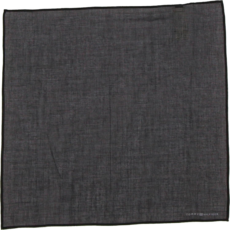 Tommy Hilfiger Men's Cotton Solid Pocket Square (One Size, Black)