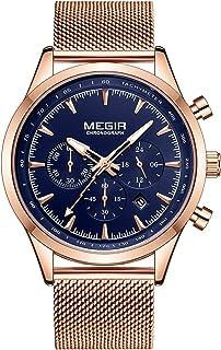 ساعة يد رجالي كوارتز كلاسيكية من GoolRC مع تقويم 3ATM مؤشر مضيء مقاوم للماء مع ساعة فولاذية
