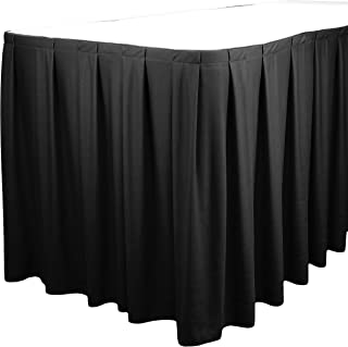 TableLinensforLess Polyester Table Skirt, Table Height (17 Foot Box Pleat, Black)