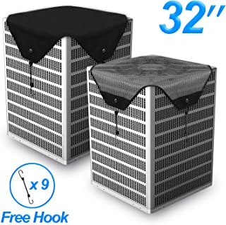 Timechee Air Conditioner Cover All Season,AC Covers for Outside Universal Center AC Unit Winter Waterproof Mesh and Heavy-Duty Tarpaulin Black 2 Pcs 32 x 32