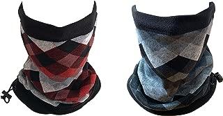 Men's and Women's Neck Warmer Gaiters Pack of 2, Winter Fleece Face Mask Headwear