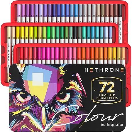 Hethrone Filzstifte für Erwachsene - 72 Farben Dual Brush Pen