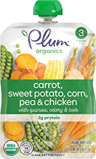 Plum Organics Stage 3, Organic Baby Food, Carrot, Sweet Potato, Corn, Pea & Chicken, 4 Ounce Pouch (Pack of 6)