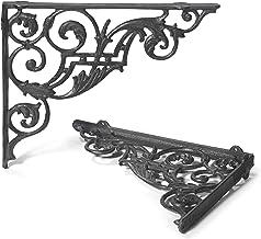 Muurhoek hoek wandhouder 27 x 33 cm boekenkast plankdragers set gietijzer Andalucia antieke stijl Moritz® BB-201-BR