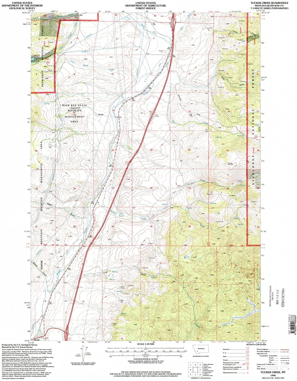 Tucker Creek MT topo map, 1 24000 Scale, 7.5 X 7.5 Minute, Historical, 1996, Updated 1998, 26.8 x 22 in