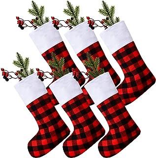 Skylety 6 Pièces Chaussette de Noël à Carreaux Buffalo Décorations de Chaussette Classiques Chaussettes de Noël avec Manch...