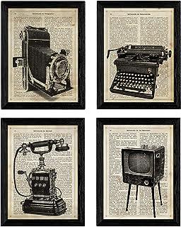 Pack de Cuatro láminas Vintage Camara de Fotos máquina de Escribir telefono y televisión con definiciones fotografía emociones Amistad y comunicacion Tamaño A4 - Sin Marco. 250 Gr