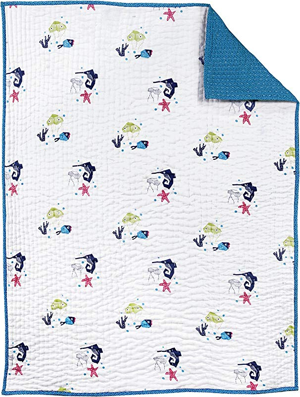 Nursery Works Oceanography Organic Cotton Hand Quilted Blanket