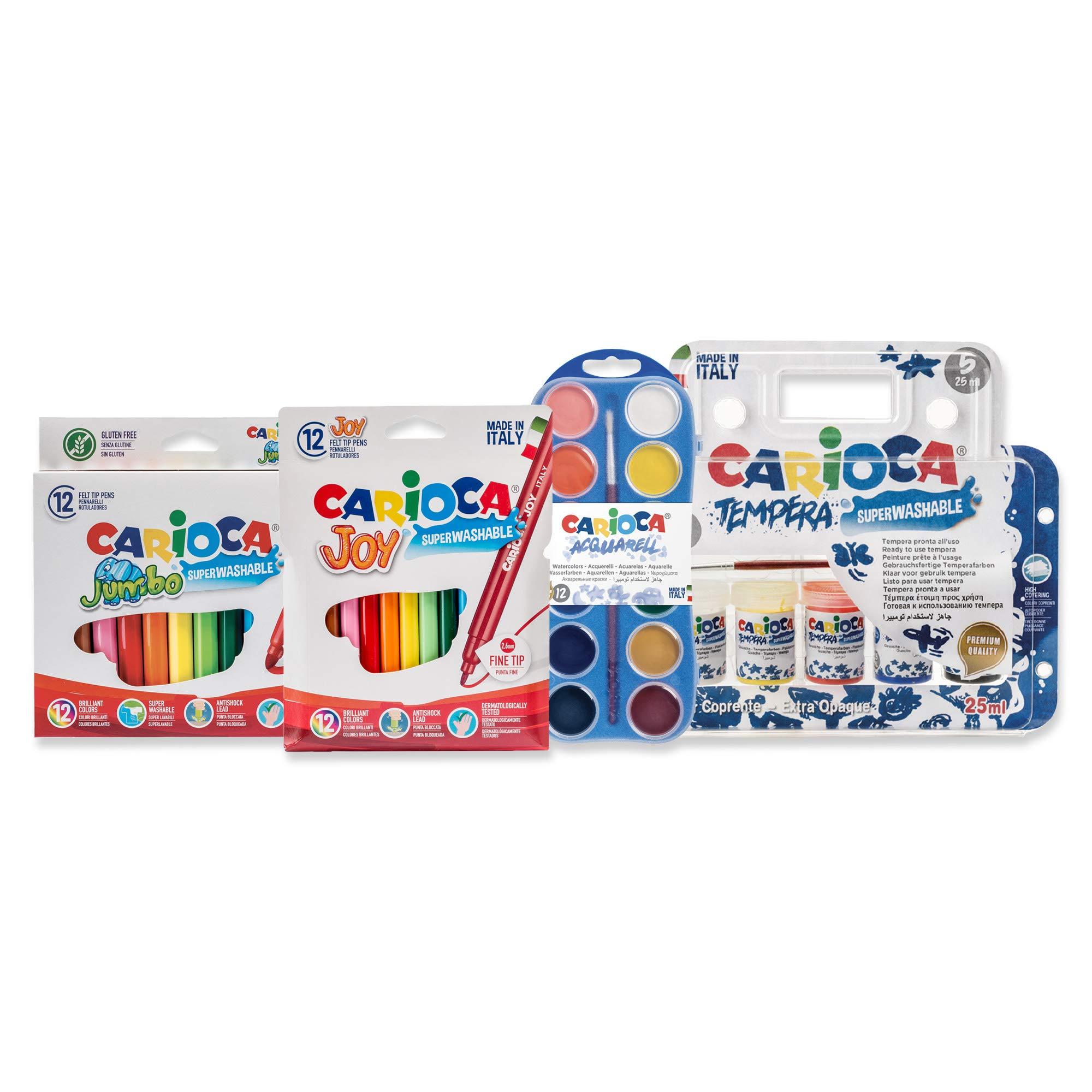 Carioca Set Super Lavable | Kit de Colores para Niños con 24 Rotuladores Super Lavables, 12 Acuarelas en Pastilla y 5 Vasitos de Témperas para Niños, 41 Unidades: Amazon.es: Juguetes y juegos