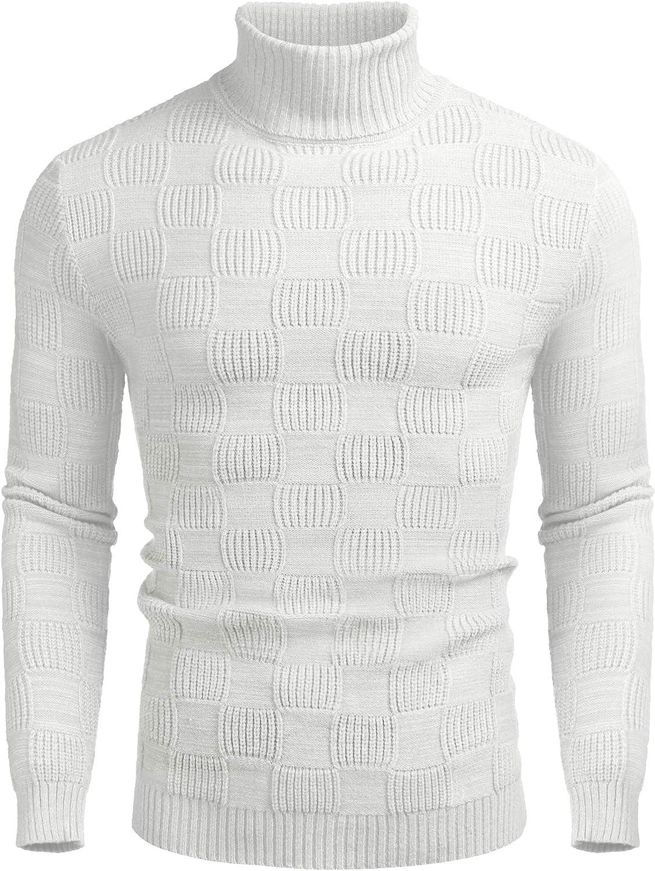 COOFANDYMen'sTurtleneckKnittedSweaterCasualThermalRibbedPulloverSweater