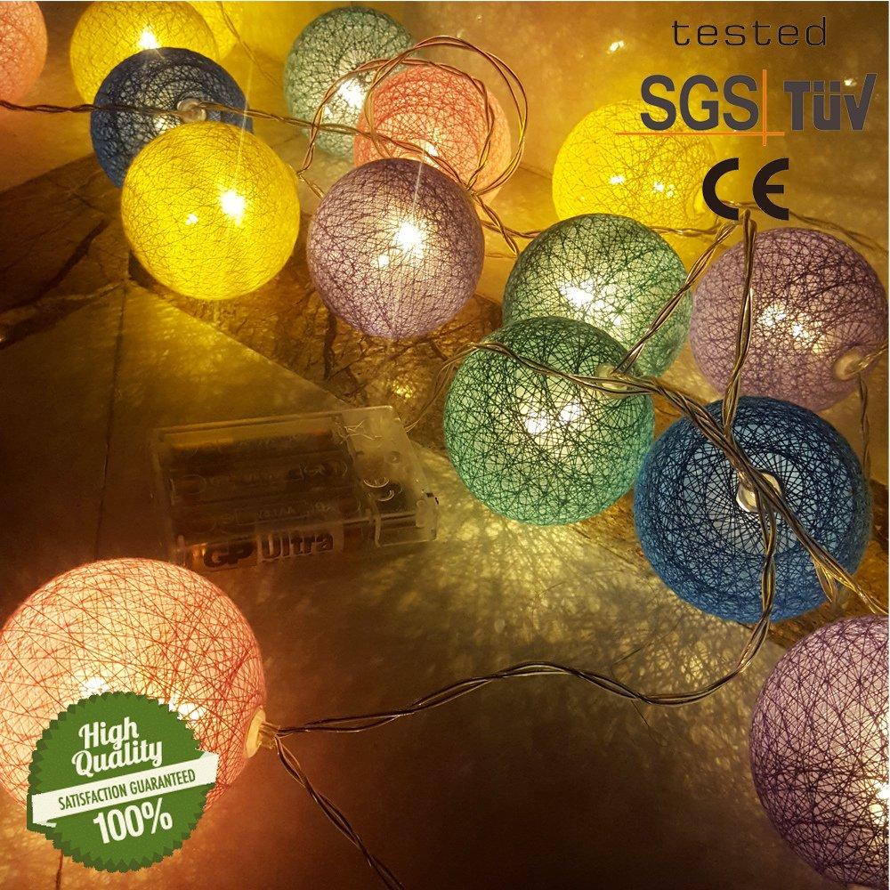 Cadena de Luces para Algodón Bola, Morbuy Decoración LED Blanco Cálido Guirnalda Luminosa Pilas 6cm Bola Hada Noche 30 Luz para Las Fiestas Jardines Casas Bodas (4.8M / 30 Luces, Fantasía Macaron):