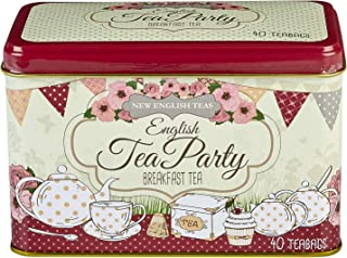 English Tea, 40 English Breakfast Teabags in English Tea Party (Pink) Tin