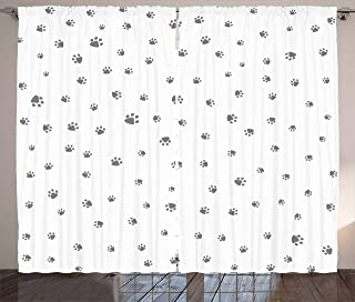 Ambesonne Dog Lover Curtains, Foot Prints of an Animal Pet Canine Marks Abstract Nature Themed Illustration, Living Room Bedroom Window Drapes 2 Panel Set, 108
