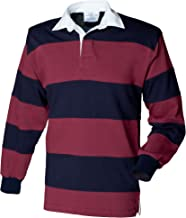 Front Row Men's Sewn Stripe Long Sleeve Rugby Sports Polo Shirt
