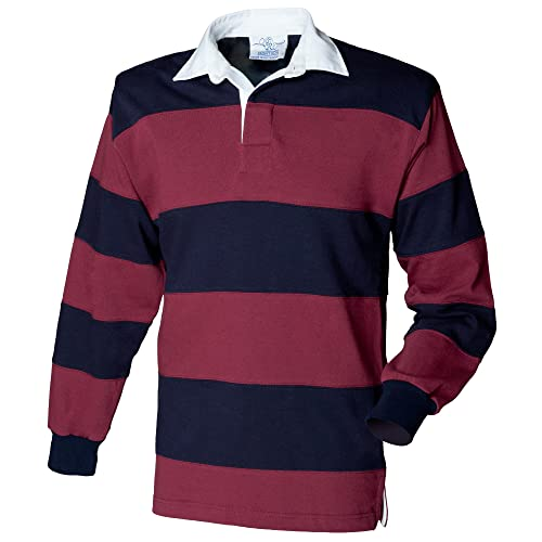 cec98871373 Front Row Sewn Stripe Long Sleeve Sports Rugby Polo Shirt