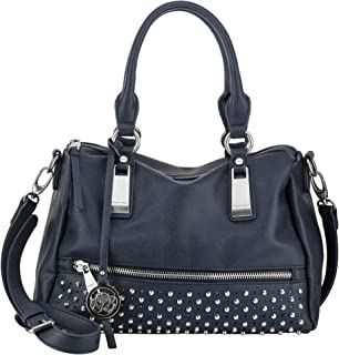 Women's Handbag Faux Leather Navy Blue Studded Vegan Ladies Large Tote Brushed Silver Metal Accents