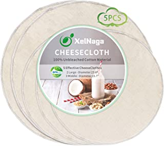 5 Pack Circle Cheesecloth, 100% Unbleached Cotton Ultra Fine Cheese Cloths for Straining, Grade 90 Plus Cheese Cloth Weave...