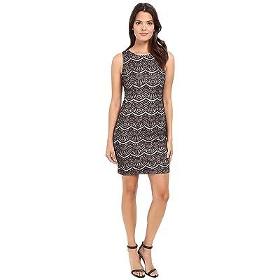 Jessica Simpson Bonded Lace Dress (Black/Shell Pink) Women