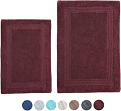 "Woven St Luxury Bathmat (Pack of 1 or Pack of 2) 17""x24"" + 21""x34"" Burgundy Lewis"