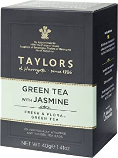 Taylors of Harrogate Green Tea with Jasmine, 20 Count (Pack of 6)